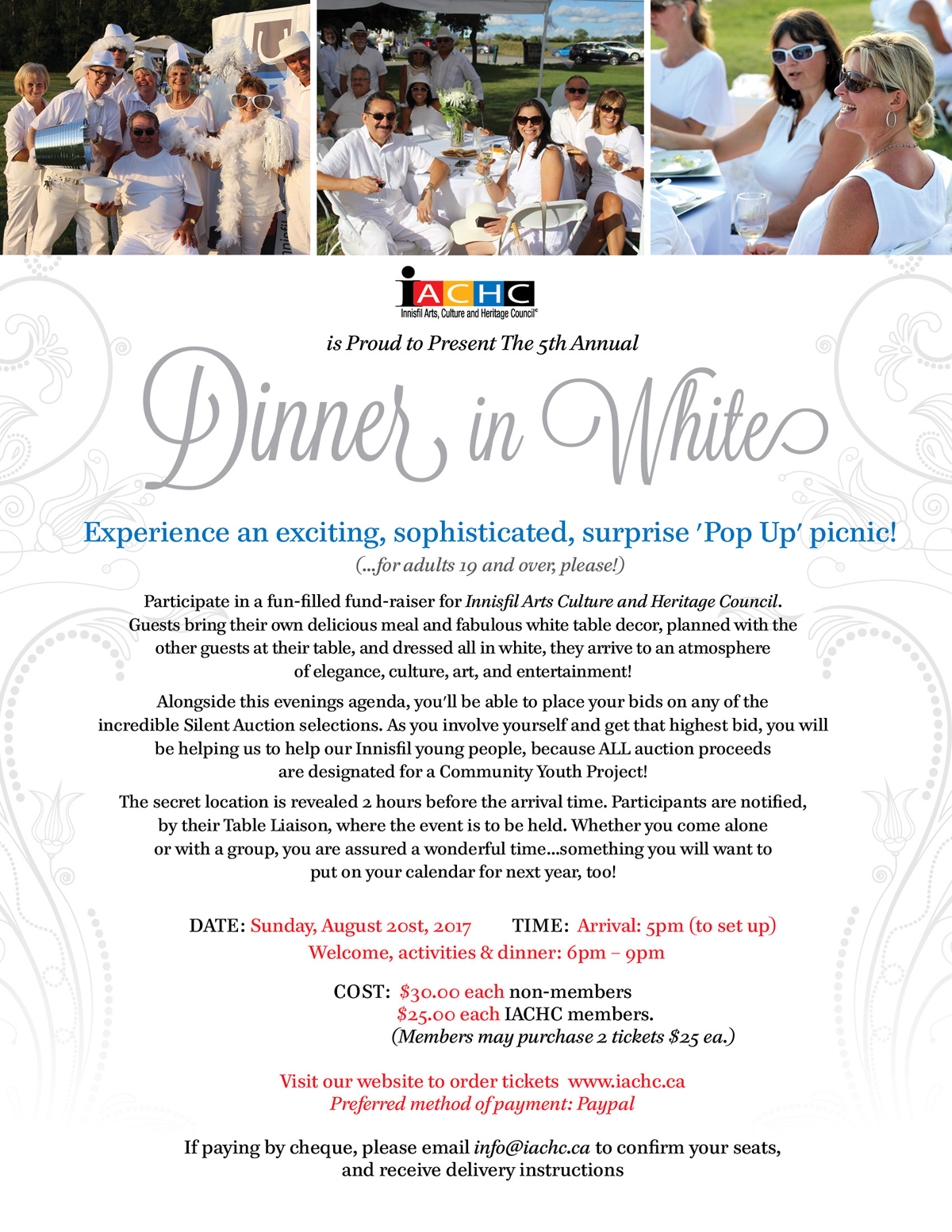 Innisfil Dinner in White, IACHC Event, August 20, 2017