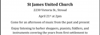 200 years of music, Innisfil Historical Society, St. James United Church, Stroud Ontario, Simcoe County, Barrie Historical Association