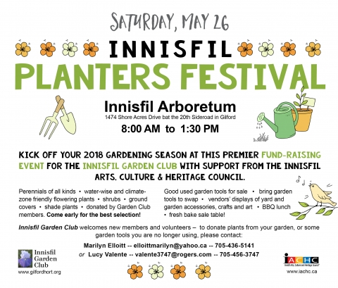 Innisfil Garden Club, Fund Raiser, Garden Tools, art, bake sale, perennials, ground covers, shade plants, garden tools, local artists, music, Fitzees, BBQ lunch,
