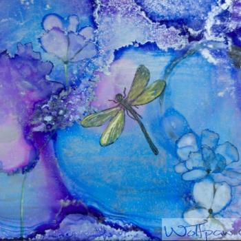 Heavenly, Dorothy Shelton, encaustic art, alcohol ink, Innisfil Studio Tour