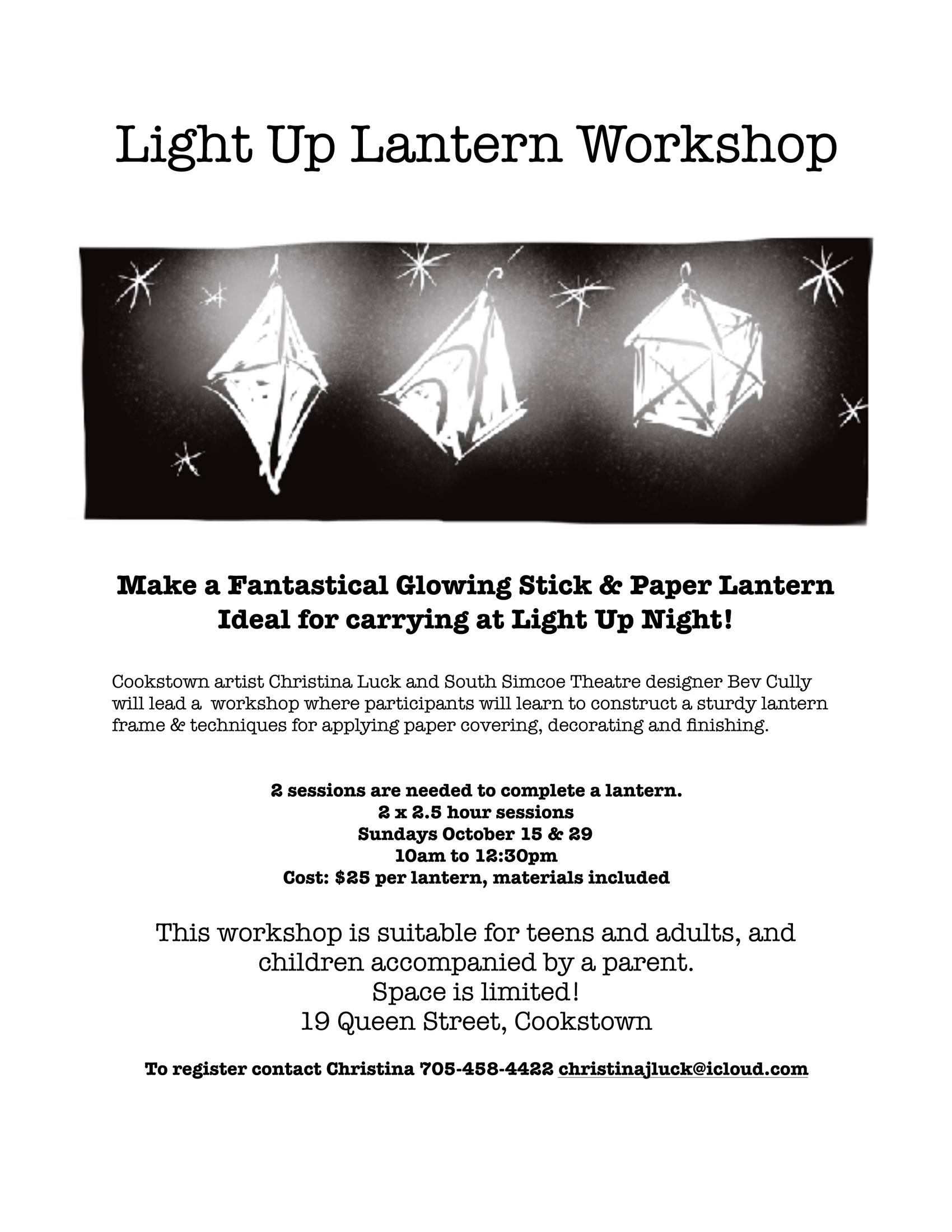 Paper Lantern Workshop, Cookstown artist Christina Luck, South Simcoe Theatre, Bev Cully,