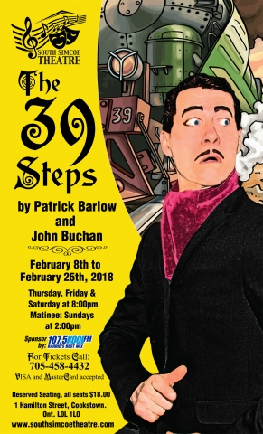 South Simcoe Theatre, The 39 Steps, Community Theatre, Innisfil, IACHC, Patrick Barlow, John Buchan, 107.5 KoolFM Sponsor,