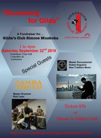 Gilda's Club, Barrie, Innisfil, Cookstown, Drumming, Samba Squad, Rick Lazar, Ruben Esquerra, Canadahelps, Drumming for Gilda
