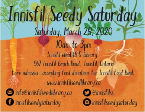 Innisfil Seedy Saturday, IACHC, Innisfil Seed Library, ideaLAB & Library