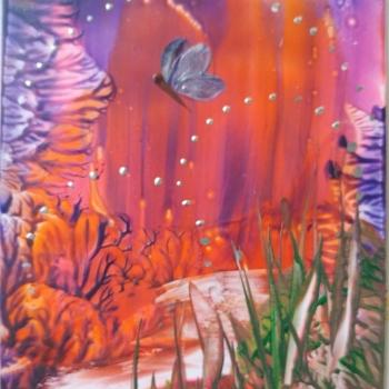 Dorothy Shelton, Enchanted, encaustic art, alcohol ink, Innisfil Studio Tour